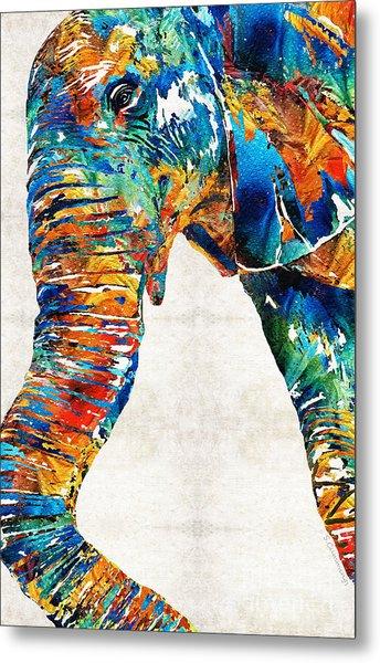 Colorful Elephant Art By Sharon Cummings Metal Print