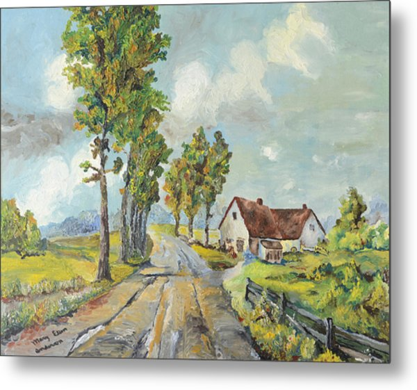 Cottage On Poplar Lane Metal Print