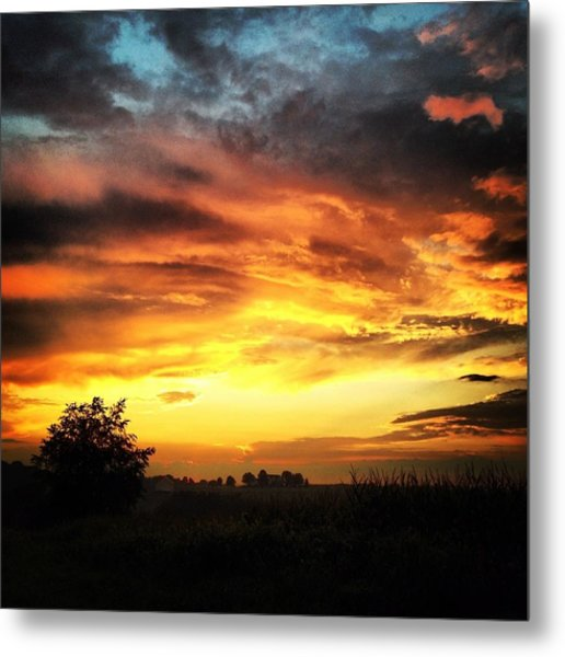Country Scene From Hilltop To Hilltop Metal Print