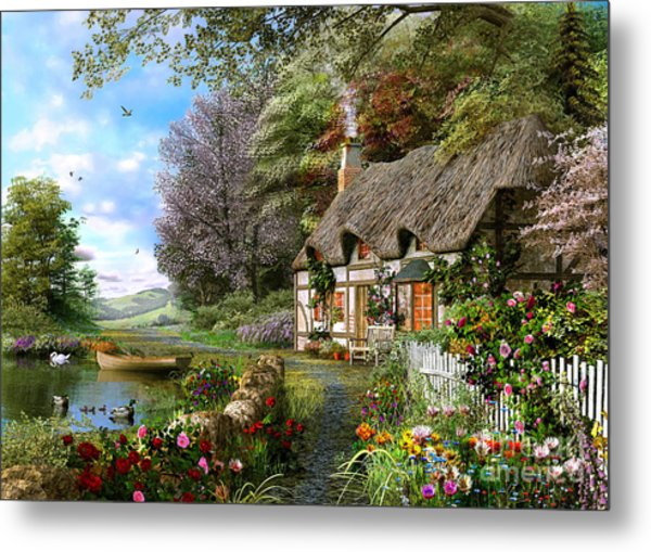 Countryside Cottage Metal Print