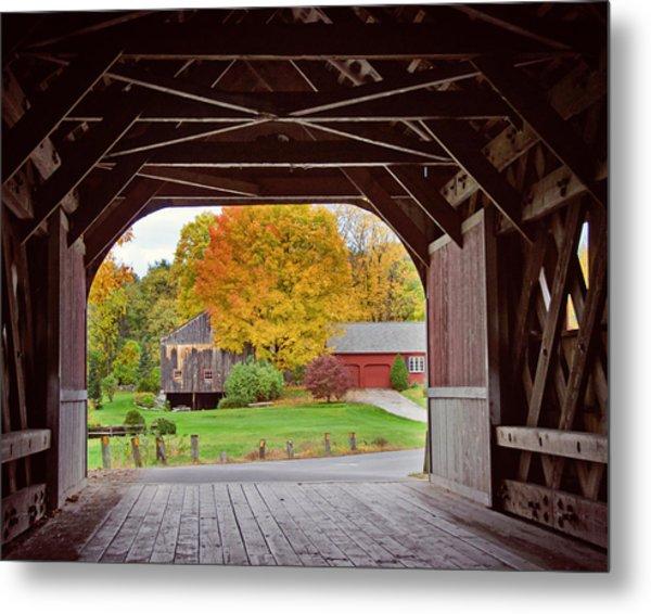 Covered Bridge In Autumn Metal Print