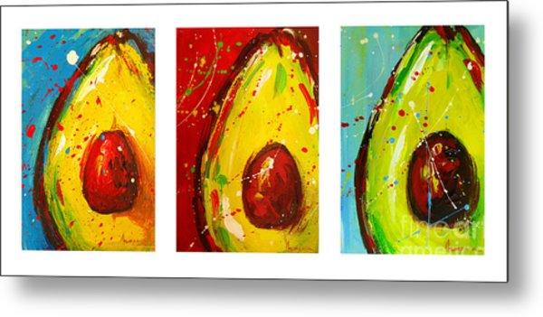 Crazy Avocados Triptych Metal Print