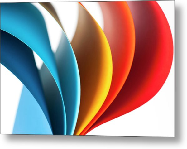 Curves Of Colored Papers On White Metal Print by Colormos