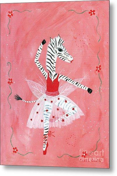 Custom Child's Zebra Ballerina Metal Print by Kristi L Randall