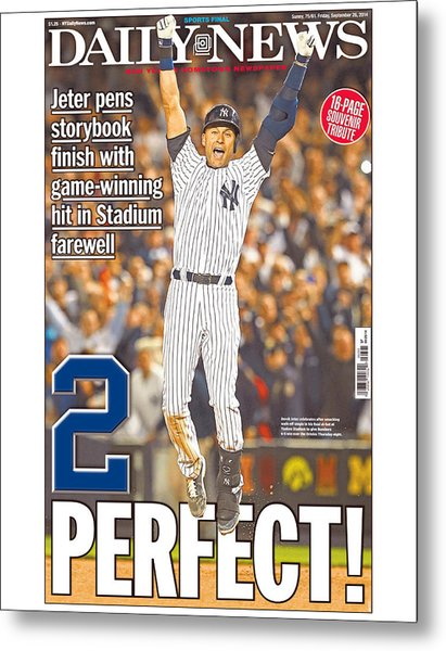 Daily News Front Page Wrap Derek Jeter Metal Print by New York Daily News