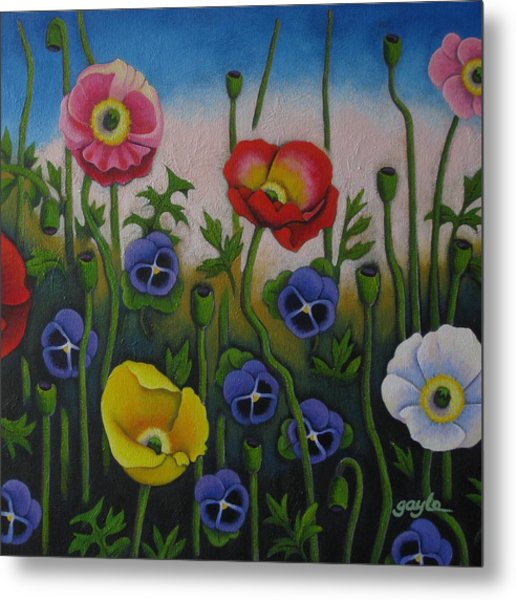 Dancing Poppies Metal Print