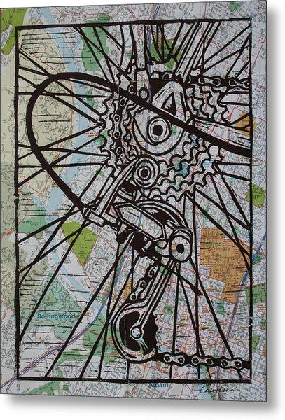 Derailluer On Map Metal Print by William Cauthern