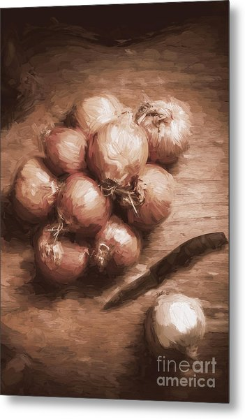 Digital Painting Of Brown Onions On Kitchen Table Metal Print