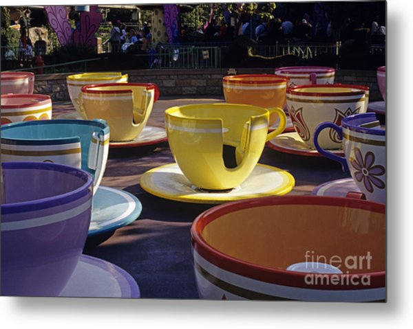 Disneyland Rides Mad Tea Party Ride Anaheim California Usa Metal Print
