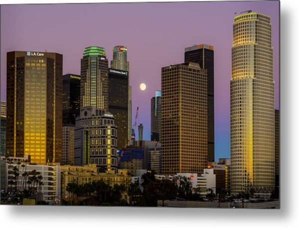Downtown Los Angeles Moonrise Metal Print
