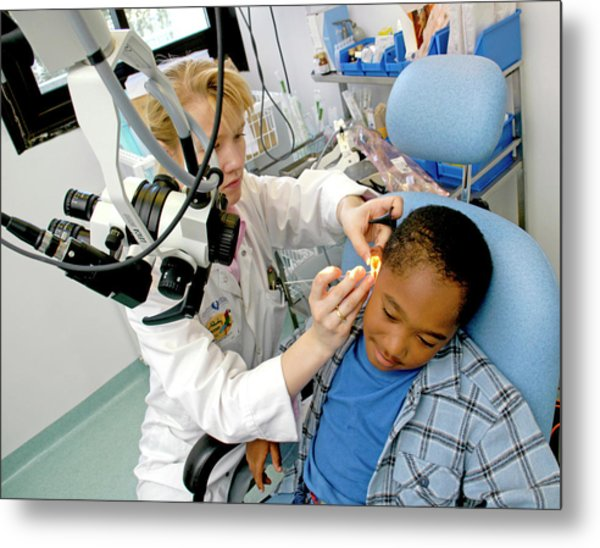 Ear Examination Metal Print by Aj Photo/science Photo Library