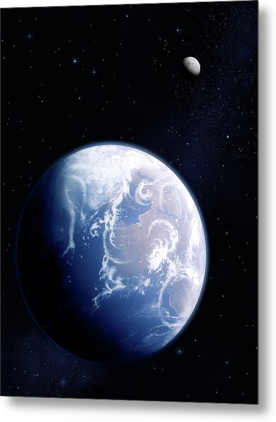 Earth And Moon Metal Print by Mark Garlick/science Photo Library