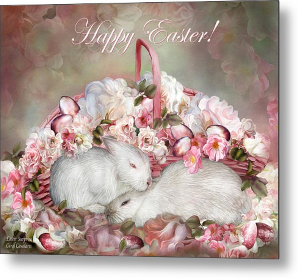 Easter Surprise - Bunnies And Roses Metal Print