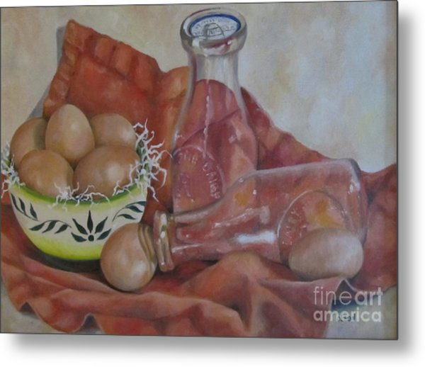 Eggs With Milk Bottles Metal Print by Karen Olson