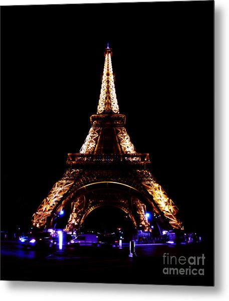 Eiffel Tower At Night Metal Print by Sandy MacNeil