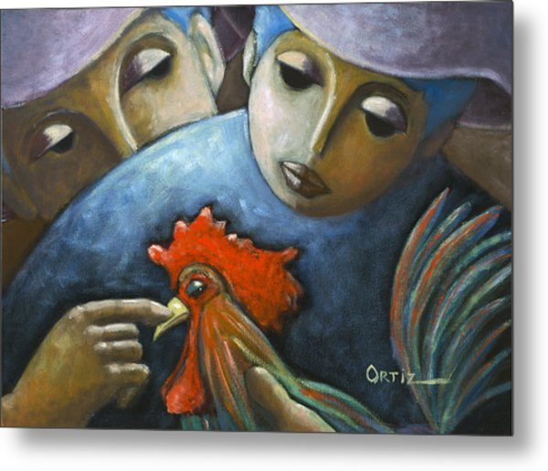 Metal Print featuring the painting El Gallo by Oscar Ortiz