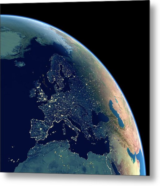 Europe At Night Metal Print by Planetary Visions Ltd/science Photo Library