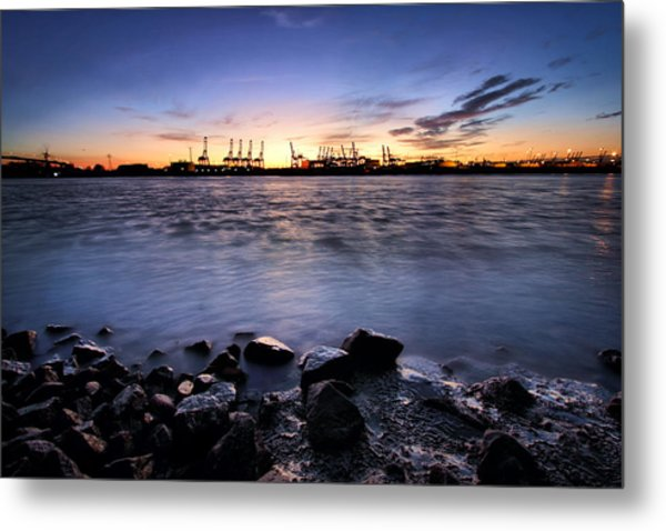 Metal Print featuring the photograph Evening At The Port Of Hamburg by Marc Huebner