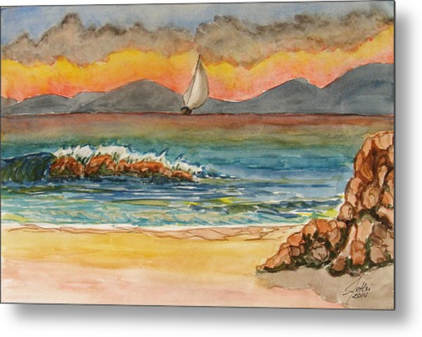 Evening In Beach Metal Print by Fethi Canbaz