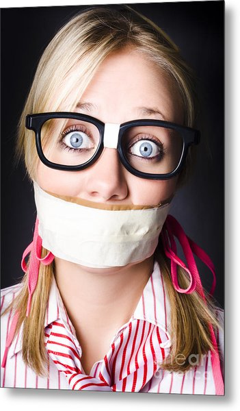 Face Of Nerdy Geek Gobsmacked By Silence Metal Print
