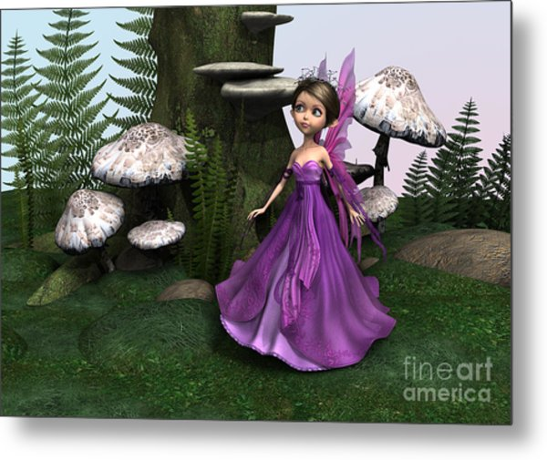 Fairy In Woodland Metal Print by Design Windmill