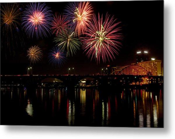 Fireworks Over The Broadway Bridge Metal Print