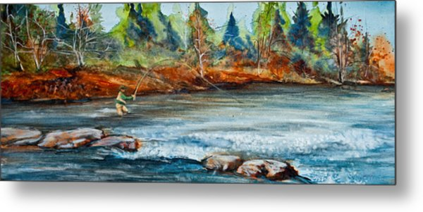 Metal Print featuring the painting Fish On by Jani Freimann
