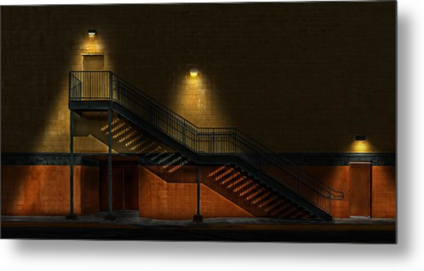 Shadowy Staircase Metal Print