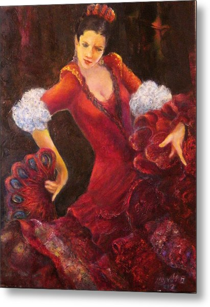 Flamenco Dancer With A Fan Metal Print