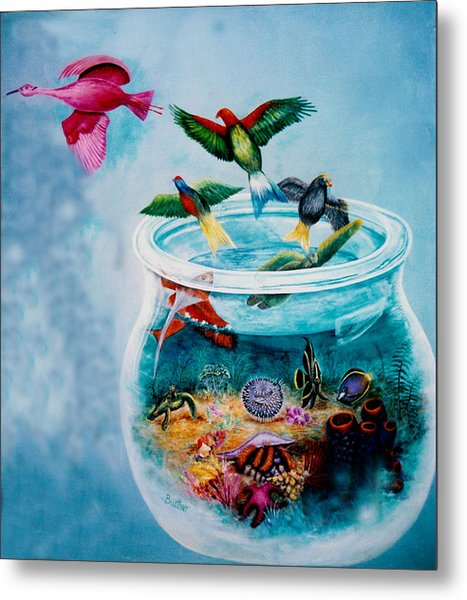 Metal Print featuring the painting Flight To Freedom by Lynn Buettner
