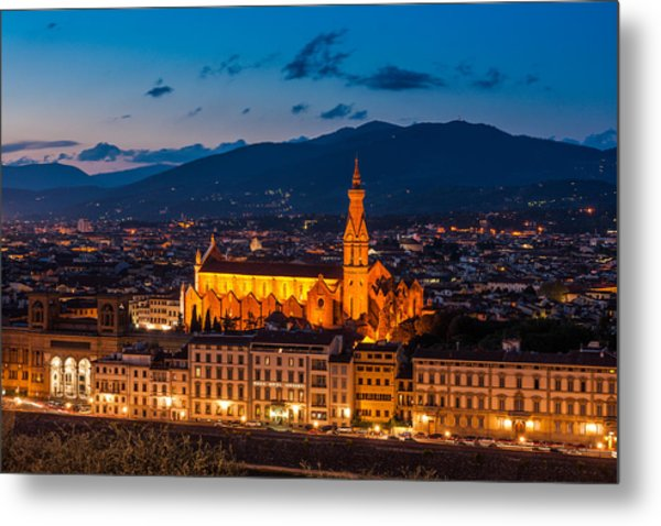 Florence City At Night Metal Print