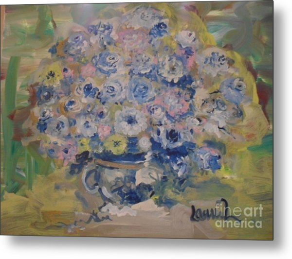 Metal Print featuring the painting Flow Bleu by Laurie Lundquist