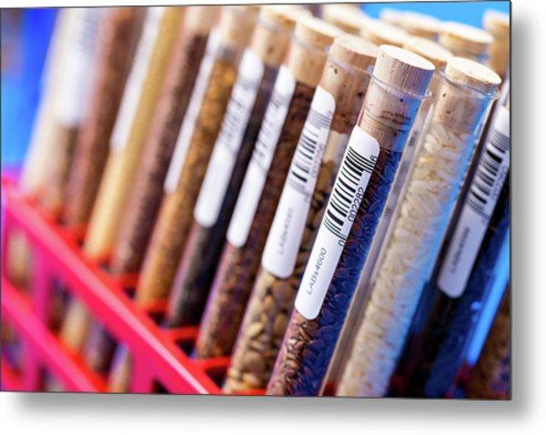Food Samples In Test Tubes Metal Print