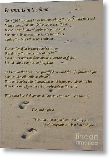 Footprints In The Sand Poem Metal Print