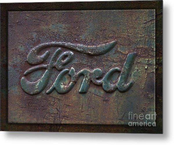 Detail Old Rusty Ford Pickup Truck Emblem Metal Print
