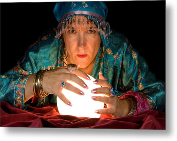 Fortune Teller And Crystal Ball Metal Print