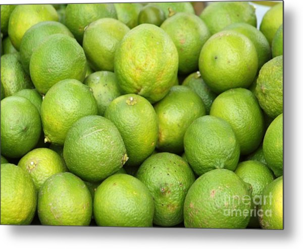 Fresh Green Lemons Metal Print