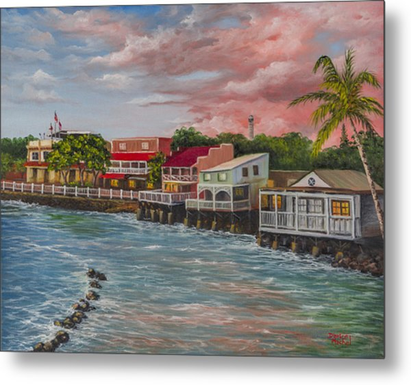 Front Street Lahaina At Sunset Metal Print