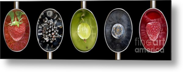 Fruit Spoons On Black Metal Print