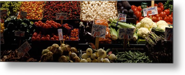 Fruits And Vegetables At A Market Metal Print