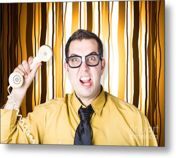 Frustrated Male Office Worker Yelling With Phone Metal Print