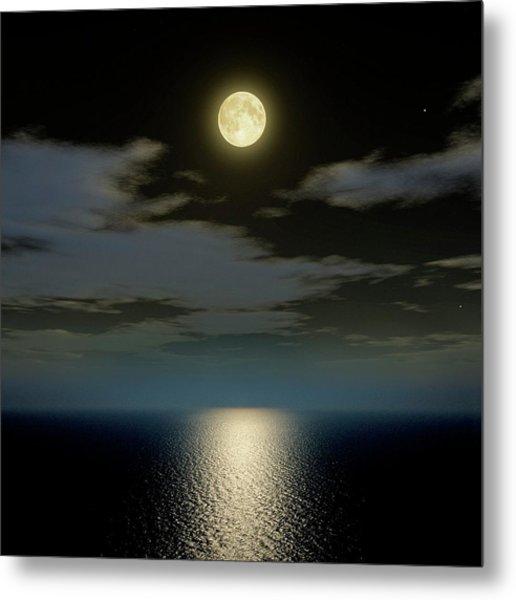 Full Moon Over The Sea Metal Print