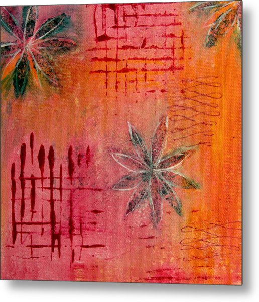 Fun Flowers In Pink And Orange 3 Metal Print