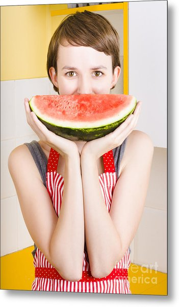 Funny Woman With Juicy Fruit Smile Metal Print