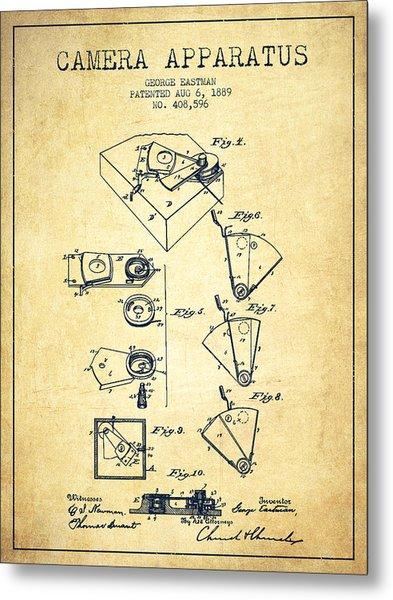 George Eastman Camera Apparatus Patent From 1889 - Vintage Metal Print