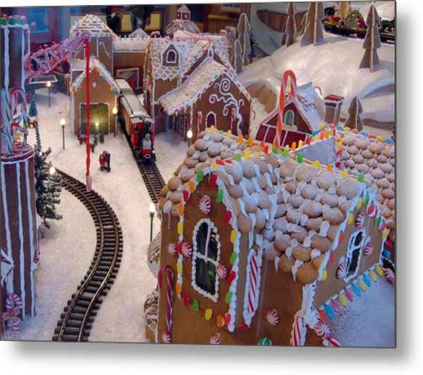 Gingerbread House Miniature Train Metal Print