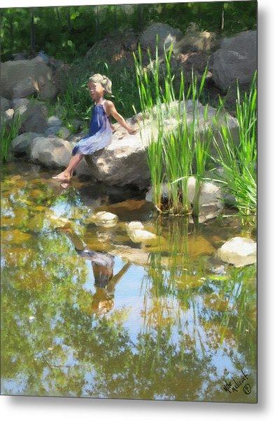 Girl At The Pond Metal Print