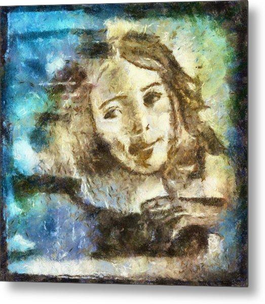 Girl In Blue Metal Print by Jennifer Woodworth