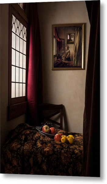 Girl Read A Letter At An Open Window Metal Print