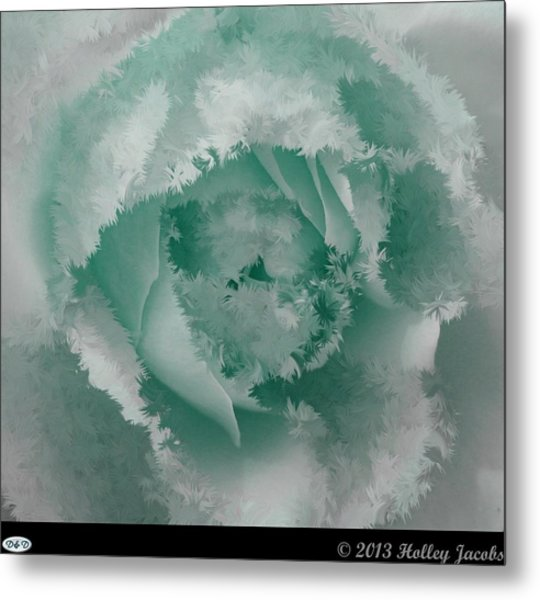 Granny's Rose Teal Metal Print by Holley Jacobs
